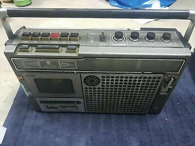 Sharp GF-6000 boombox mono 2 way spk working ghettoblaster radio cassette Rad