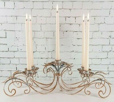 French Vintage Style 5 Arm Candle Holder Rustic Candelabra Centrepiece Ornate
