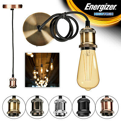 Energizer Ceiling Rose Pendant Corded Flex Hanging Lamp Fitting & Light Bulb Set
