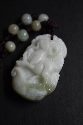 .Chinese Zodiac Pendant Necklace,Hand Carved Jade,Year Of Ram