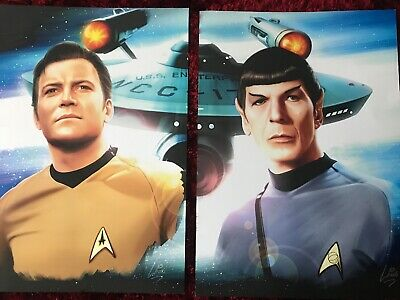 Star Trek - Dr Spock And Captain Kirk A3 Glossy Print Poster