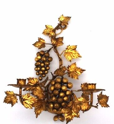 Italian Gold Gilt Grapes Leaves Tole Metal Candle Holders Wall Sconce Regency