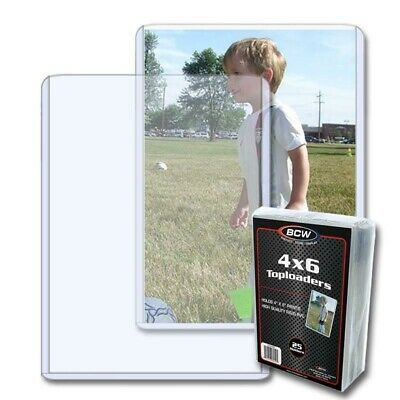 """Pack of 25 BCW Toploader 4"""" x 6"""" Postcard or Photo Holder Archive Protector"""