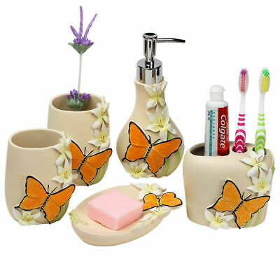 Bath Accessory Resin 5pcs Butterfly Set Soap Dispenser Dish Toothbrush Holder
