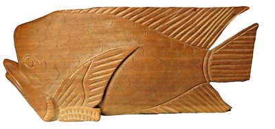 Hand Carved Hard Wood Whale Fish Wooden Ocean Sea Nautical Vintage Folkart