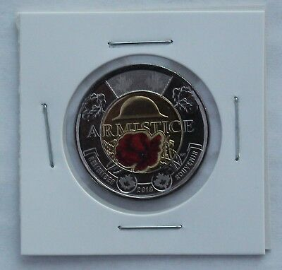 2018 Canada Two Dollar Coin Toonie $2; Armistice; Red Coloured Poppy; UNC
