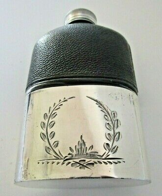 Silver Plated & Leather Hip Flask, Circa 1900
