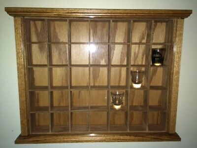 Beautiful Hand Crafted Oak Shot Glass Display Case (holds 35 shot glasses)