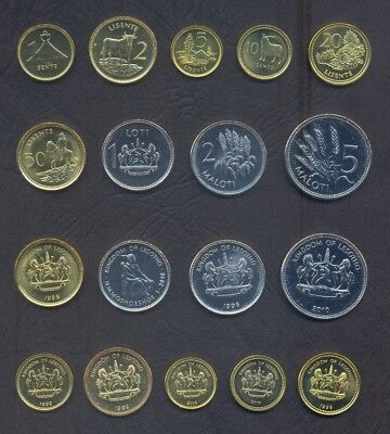 LESOTHO FULL COIN SET 1+2+5+10+25+50 Lisente 1+2+5 Maloti 1992-2010 UNC LOT of 9