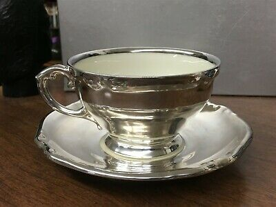 Black Knight China Bavaria Cup & Saucer Silver