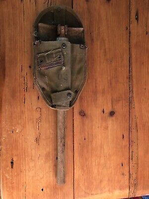WW2 Army US Wood 1944 Entrenching Shovel E Tool Ames Belding Canvas Carrier