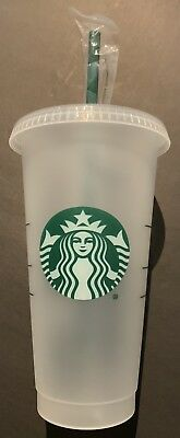 STARBUCKS Reusable Venti 24 OZ Frosted Ice Cold Drink Cup RARE * FAST Shipping