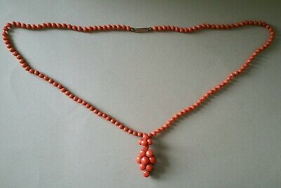 Antique 9ct Georgian c1820  Stunning Hand Carved Coral Bead Necklace Orb Pendant