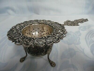Lovely Antique Sterling Silver English Tea Strainer With Cup/Holder