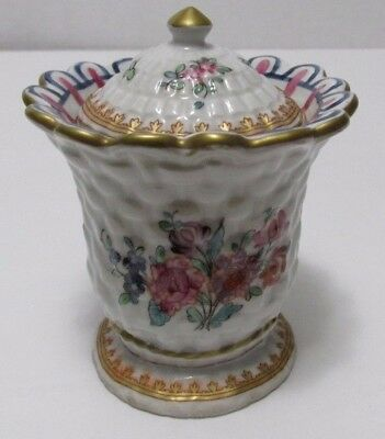 Porcelaine de Paris INKWELL Hand Painted Basketweave Floral Motifs French Signed