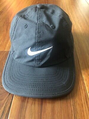 9c873ba6 NIKE SWOOSH HERITAGE 86 Drifit ADJUSTABLE CAP HAT BLACK/WHITE COTTON  TRAINING