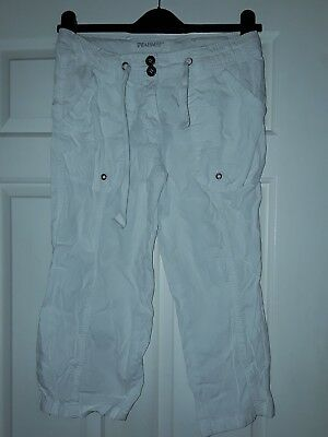 Girls/young lady white cropped summer trousers - Denim Co size UK 8
