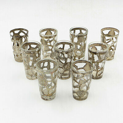 Vintage Mexican Cutwork Sterling Silver Overlay Shot Glasses Lot of 7