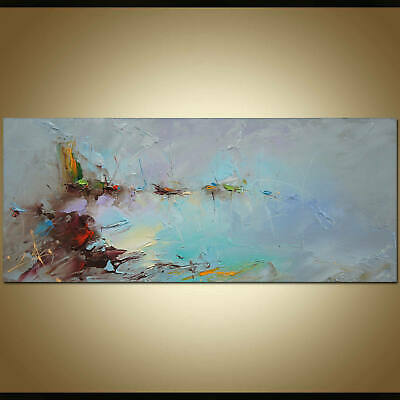 """YA889 Large Modern abstract canvas oil painting Hand-painted Unframed 24""""x48"""""""