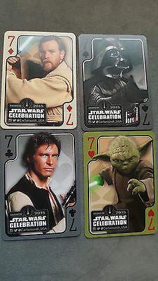 2015 Swca Star Wars Celebration Cartmundi Promo Card Set de 4 Vader Han Yoda