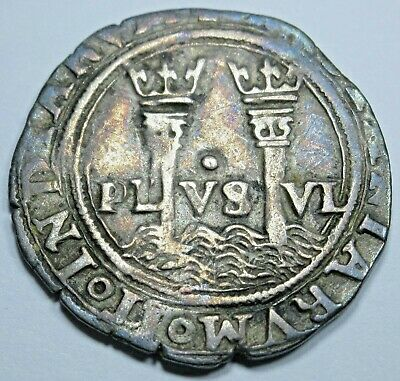 Spanish Mexico 1500's 1 Reales Carlos & Johanna Antique Silver One Real Cob Coin