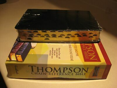 NKJV Thompson Chain-Reference Black Bonded Leather Bible, Thumb-Indexed, SALE