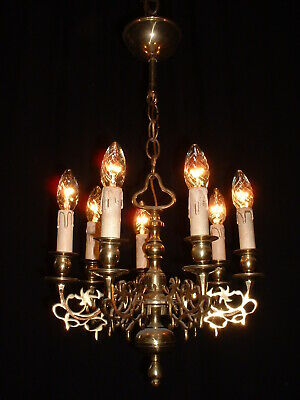 Antique small French bronze Arts and Craft chandelier France