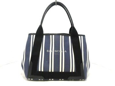 62baed715a2 Auth BALENCIAGA Navy Cabas S 339933 Navy Ivory Black Canvas Leather Tote Bag