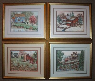 Set Lot Framed Rustic Country Homes and Barn Cross Stitches Completed Finished