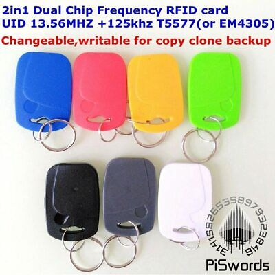 Dual Chip Frequency RFID ID key tag Readable Writable Rewrite copy clone backup