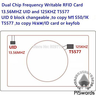 Dual Chip Frequency RFID 13.56Mhz 1K UID + T5577 125 kHz ID blank card Writable