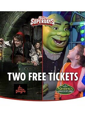 2 Shrek or 2 London dungeon tickets, all 9 codes pick your own date Sun Savers