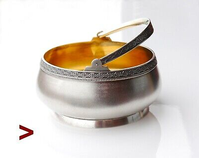 1954 Vintage Soviet Union Russian solid Sterling Silver Bowl Basket / 202 grams