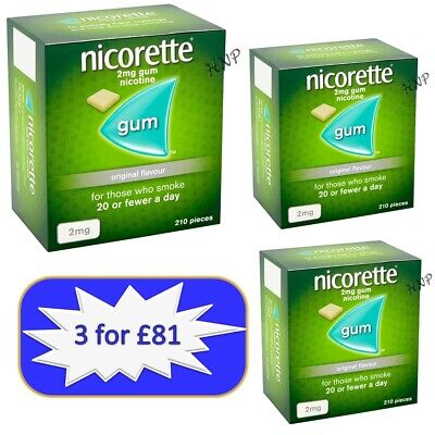 Nicorette Gum Original 2mg of 210 pieces Expiry August / 2021   3 Packs -11/2021