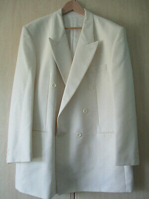 "mens VARTEKS INTERNATIONAL IVORY EVENING DINNER TUXEDO JACKET 48"" CHEST LONG"