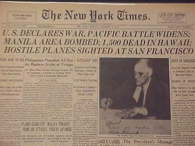 Vintage Newspaper Headline ~World War President Roosevelt U.s. Declares War Wwii