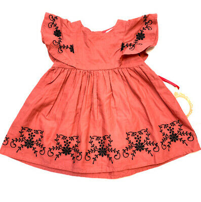 3a67c222a031 NWT Ruby & Bloom Nordstrom Baby Girls Dress Pink Embroidered Size 6 Months  ...