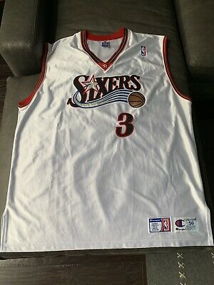 409b8c7cf31 Allen Iverson Philadelphia 76ers Champion Authentic NBA Jersey Sz 56 SEWN