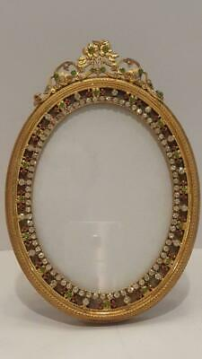Fine Antique French Jeweled Gilt Bronze Picture Frame