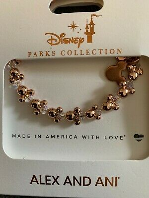 Disney Parks ALEX AND ANI Mickey & Minnie Ear Hat Icons Gold Wrap Bracelet NWT