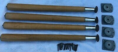 Four Dansette Unpainted Wooden Table Legs Height 39.5 Cms With Brackets