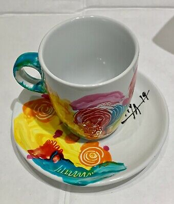 Original Abstract Painting Espresso Coffee Cup Set with Rack  8-Piece By Lisa.