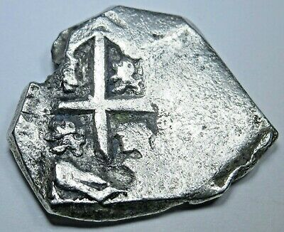 1600's Spanish Silver 2 Reales Piece of 8 Real Colonial Pirate Treasure Cob Coin