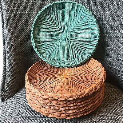 "Lot Of 8 Vintage Wicker Rattan Woven Paper Plate Holders 9"" Picnic Orange & Gree"