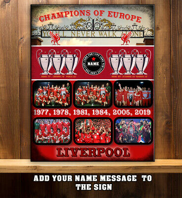 PERSONALISED LIVERPOOL FANS CHAMPIONS OF EUROPE TEAMS   Metal wall Sign