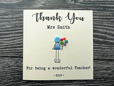 Handmade & Personalised Thank you Teacher TA Card Boy Flowers. Any name text
