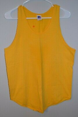 vintage 80's 90's usa made RUSSELL athletic Mustard Muscle tank top t-shirt L/M