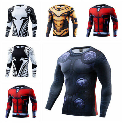 Men's Compression T-shirts Superman 3D Printed Tee Long Sleeve Workout Gym Tops