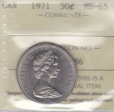 1971 ICCS MS65 50 cents Canada fifty half dollar