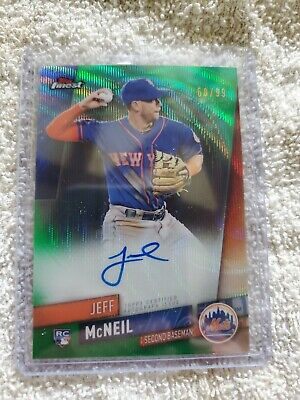 2019 Finest Autographs Green Wave Refractor #FAJMC Jeff McNeil #'d 60/99